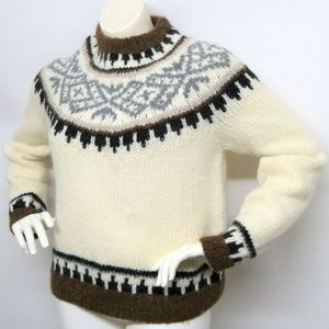 J CREW Fair Isle Alpaca Wool Nordic Ski sweater XL